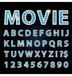 Blue neon lamp letters font show cinema or vector