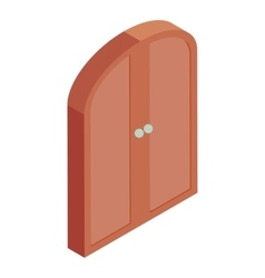 Brown double door icon cartoon style vector image
