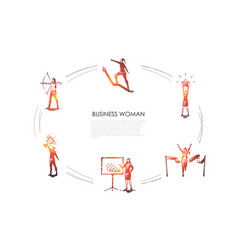 business woman - women with star in hands archery vector image