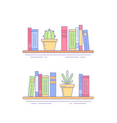 cactus succulent on bookshelf with books vector image