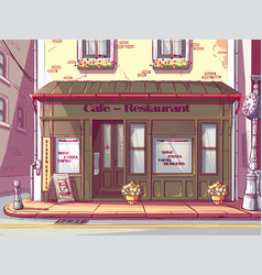 Cartoon background cafe in hungary vector
