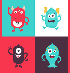 cartoon monsters collection vector image