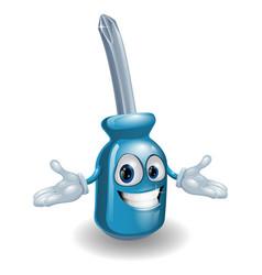 cartoon screwdriver person vector image