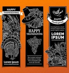 Chalk Thanksgiving vertical banners set vector