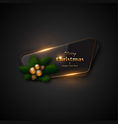Christmas banner with transparent glass and vector