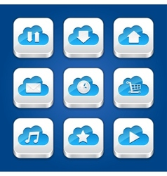 collection apps icons with clouds vector image