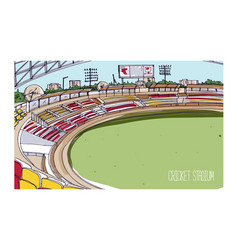 Colorful drawing of cricket stadium with rows of vector
