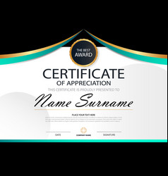 curve elegance horizontal certificate template vector image