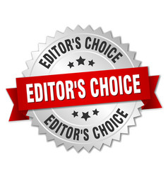 Editors choice round isolated silver badge vector