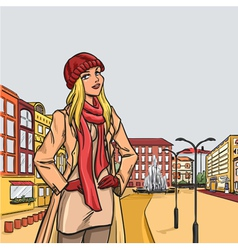 Elegant blonde woman after shopping in autumn city vector