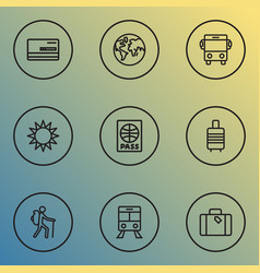 exploration icons line style set with valise vector image