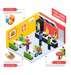 fast food isometric composition vector image