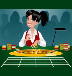 Female croupier in a casino vector