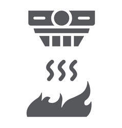 Fire detector glyph icon alarm and equipment vector