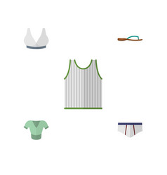 Flat icon garment set of singlet beach sandal vector