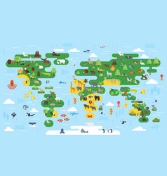 Flat style abstract world map with animals vector