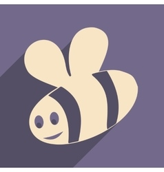 Flat with shadow icon and mobile applacation bee vector