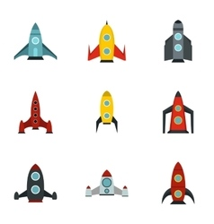 Flight in cosmo icons set flat style vector
