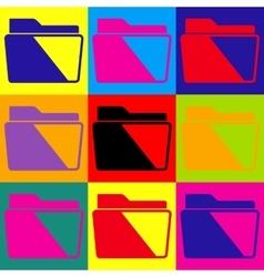 Folder sign Pop-art style icons set vector image