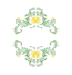 Folk yellow painting Floral art vector