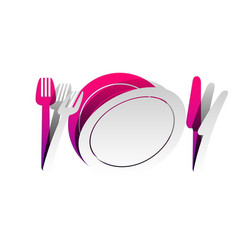 fork plate and knife detachable paper vector image