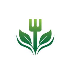 Fork restaurant eco logo vector