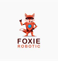 Fox robot cartoon mascot logo on white background vector