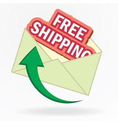 free shipping sign in envelope vector image