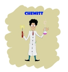 Fun cartoon chemist making analysis of liquid vector