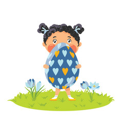 Girl with gigantic decorative egg vector