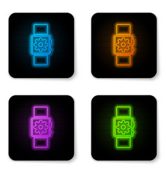 glowing neon smartwatch setting icon isolated on vector image