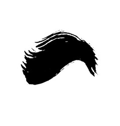 Grunge ink brush strokes freehand wave black vector