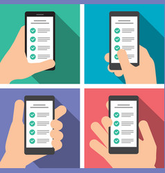 hand holds a smart phone in vertical position vector image