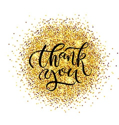 Hand sketched Thank you text as logotype badge and vector image