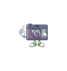 Happy retro camera speaking on phone vector