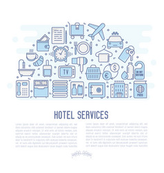 hotel services concept in half circle vector image