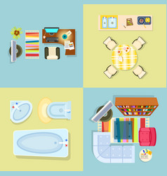 interior decor set of four vector image vector image