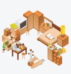 Isometric room vector