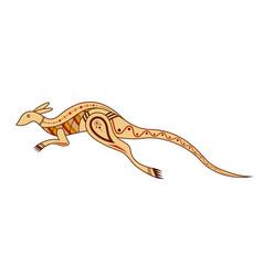 Kangaroo aboriginal art style vector