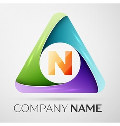 Letter N logo symbol in the colorful triangle vector