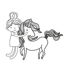 Line happy boy hugging beauty unicorn vector