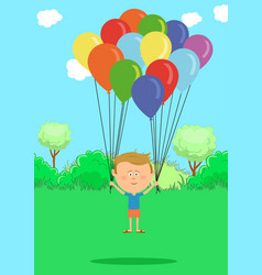 Little boy flying with multicolored balloons vector