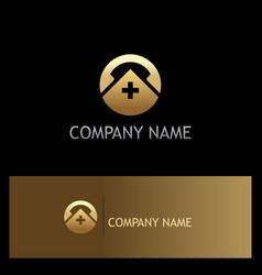 Medic hospital phone icon gold logo vector