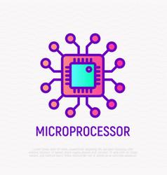 microprocessor thin line icon modern vector image