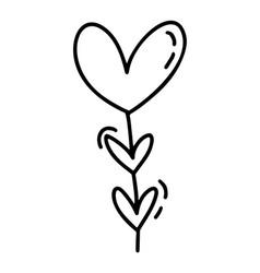 monoline cute garaland with hearts vector image