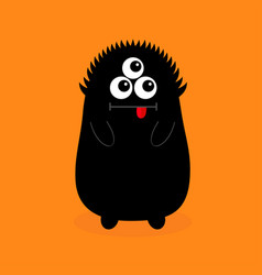 monster black silhouette open mouth three eyes vector image