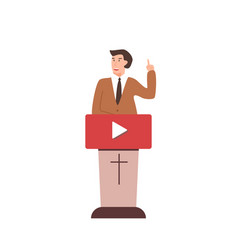 Online church pastor preaching video streaming vector