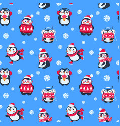 penguins seamless pattern cute christmas package vector image