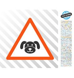 Puppy warning flat icon with bonus vector