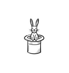 rabbit in a magician hat hand drawn sketch icon vector image